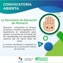 Convocatoria intérpretes en lengua de señas y modelo lingüístico