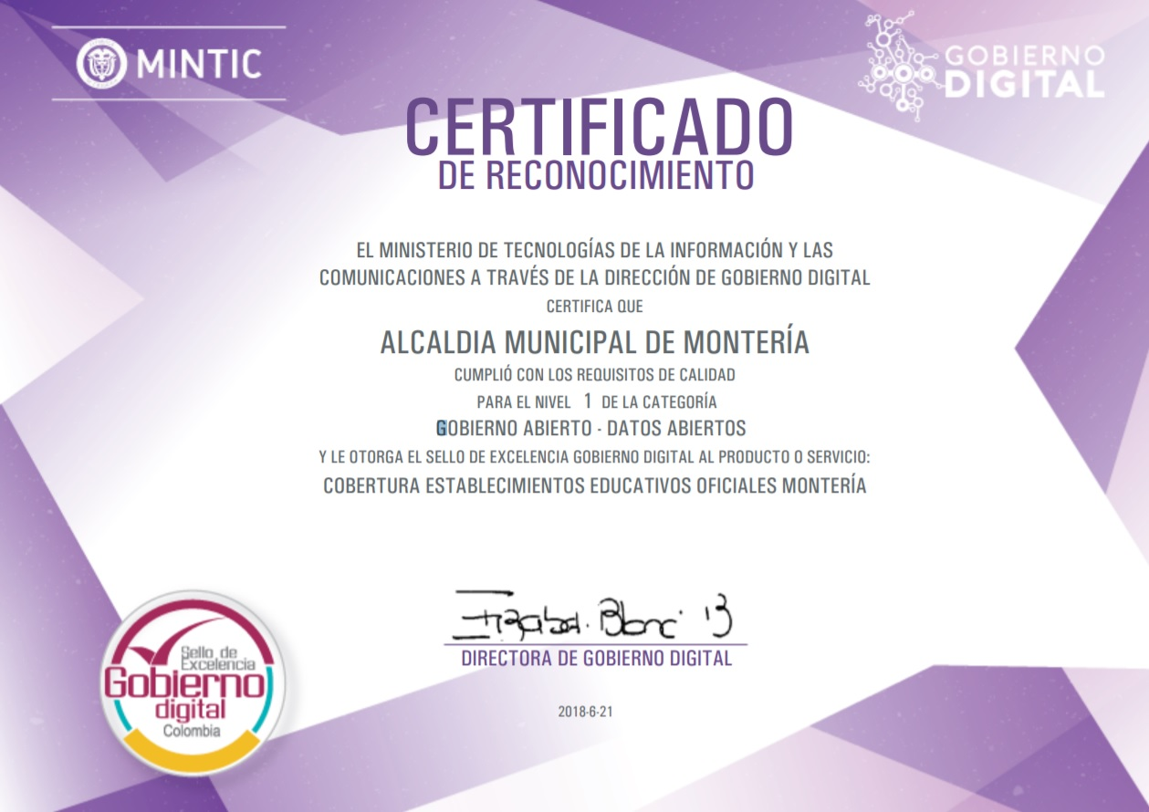 Certificado de Datos Abiertos